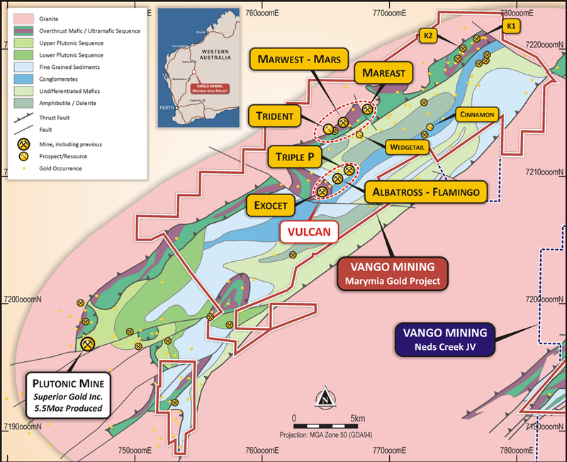 Marymia Gold Project, Triple-P and Vulcan Target locations, geology and key prospects