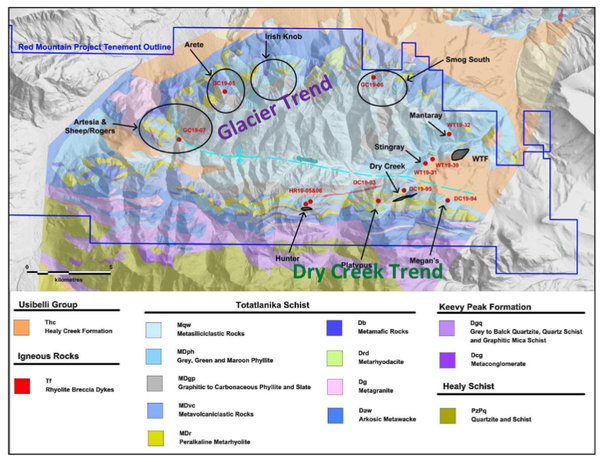 Location of 2019 drilling activities on the DGGS geology map (after Freeman et al., 2016) and terrain surface with locations for the Dry Creek and WTF VMS deposits.