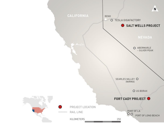 Location of the Fort Cady Project, California and the Salt Wells Projects, Nevada