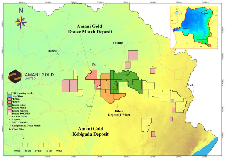 Haute Uele Province of the DRC, showing the location of the Kebigada and Douze Match gold deposits, Giro Gold Project