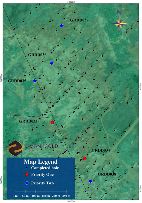 Map of central Kebigada gold deposit, showing the location of planned diamond core drillhole locations (Priority One holes in RED, Priority Two in BLUE)