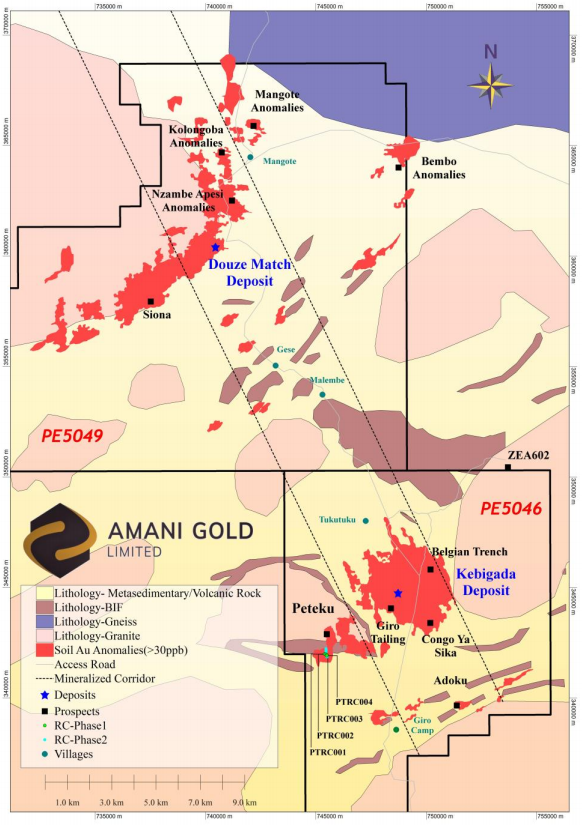 Giro Gold Project, showing surface geology, Kebigada and Douze Match gold deposits, selected prospects, Au in soil anomalies and Peteku RC drillholes PTRC001-PTRC004