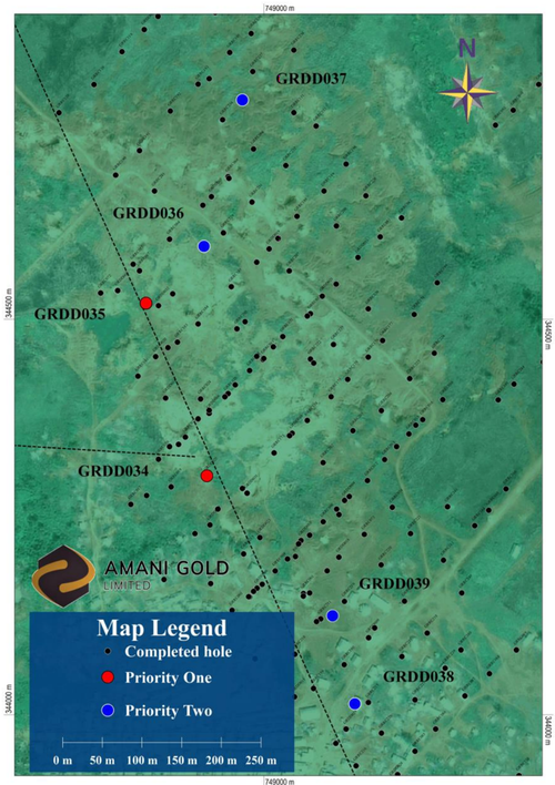 Map of central Kebigada gold deposit, showing the location of diamond core drillholes GRDD034 and GRDD035 and planned drillhole locations (Priority One holes in RED)