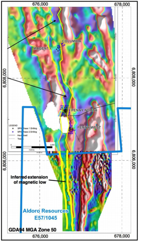 The Penny South Gold Project lies directly to the south of the Penny West Gold Project owned by Spectrum Metals (ASX:SPX).