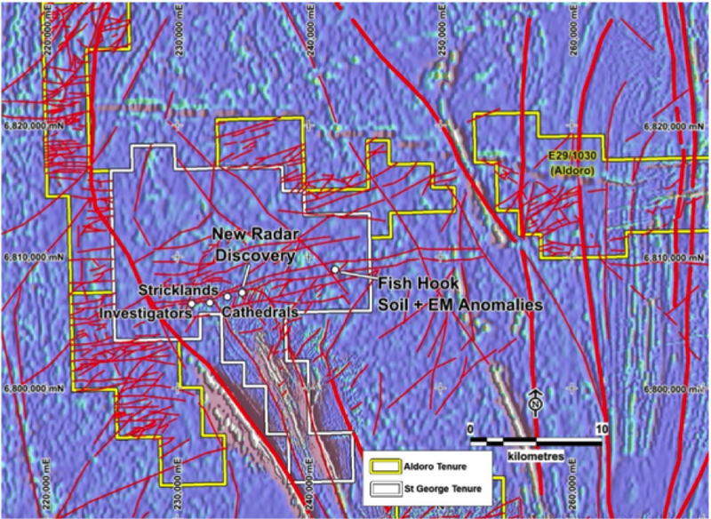 Cathedrals' Belt lies to the east and west of the $60 million capped St George Mining's (ASX:SGQ) Mt Alexander Project.