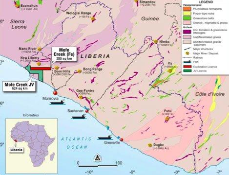 Location of Tawana Resources' (ASX:TAW) Mofe Creek iron ore mine in Liberia