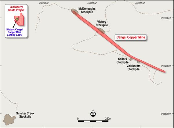 Legacy stockpiles at the Cangai Copper Mine