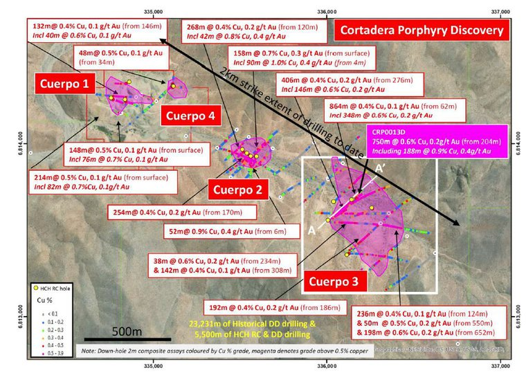 Plan view across the Cortadera discovery area displaying significant historical copper-gold DD intersections across Cuerpo 1, 2 and 3 tonalitic porphyry intrusive centres.