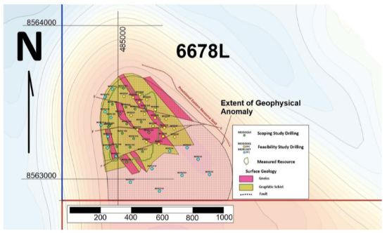 Locations of Feasibility Study drill holes and the plan view of mineralisation.