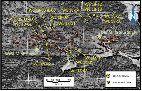 A look at the current drilling locations in comparisons to historical collars.