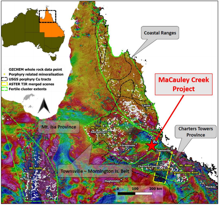 Queensland total magnetic intensity image showing fertile porphyry provinces (green polygons). MaCauley Creek occurs in the Townsville-Mornington Island Belt