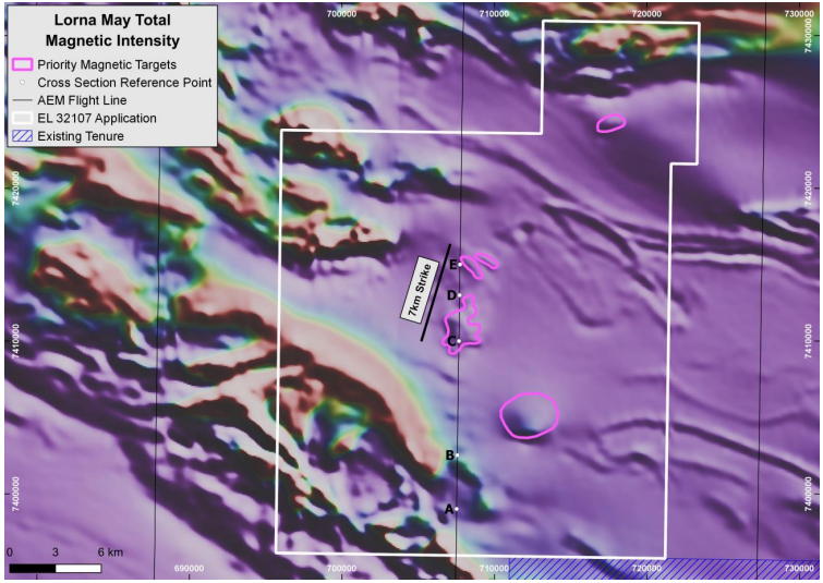 Total magnetics image of Lorna May showing subtle magnetic features (pink lines) within a generally unchanging low-response magnetic terrain