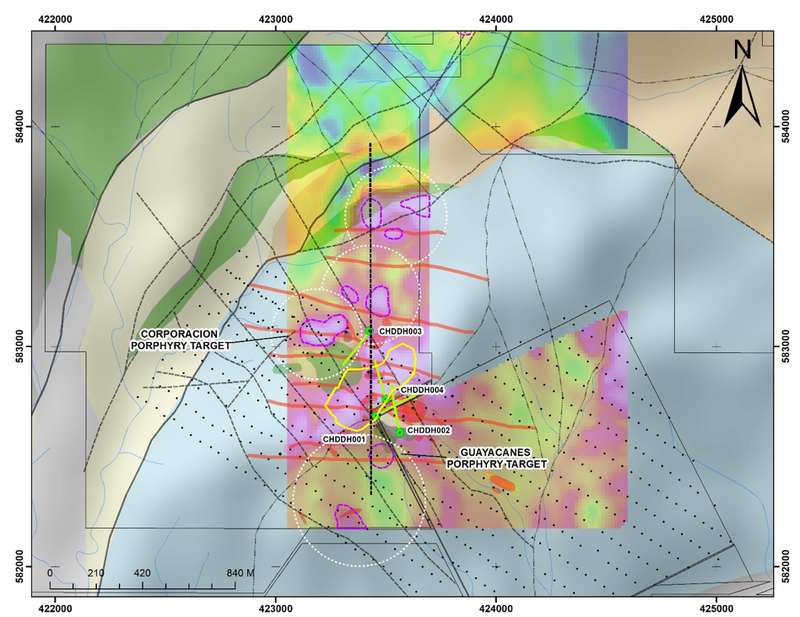 Chuscal plan view showing the Fathom target (yellow outline) in relation to LCL drill holes CHDD001-004 (– too shallow to intersect Fathom target) and existing porphyry targets (dotted white circles) established from other data over background magnetics. Purple bordered shapes are magnetic highs of interest.  Note the north-south orientation of targets, this orientation extends northward to align to the Tesorito Prospect located 1.5km to the north.