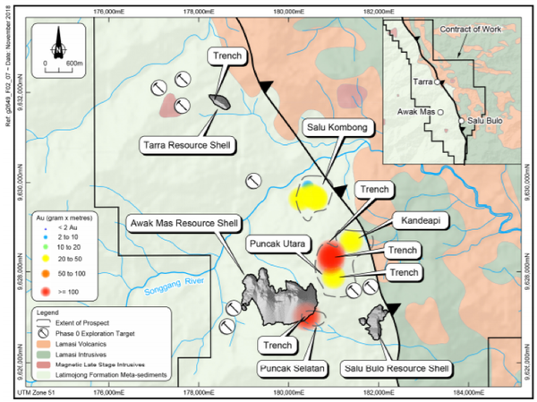 Current exploration areas, showing trench locations against near mine prospects identified as gram x metre anomalies