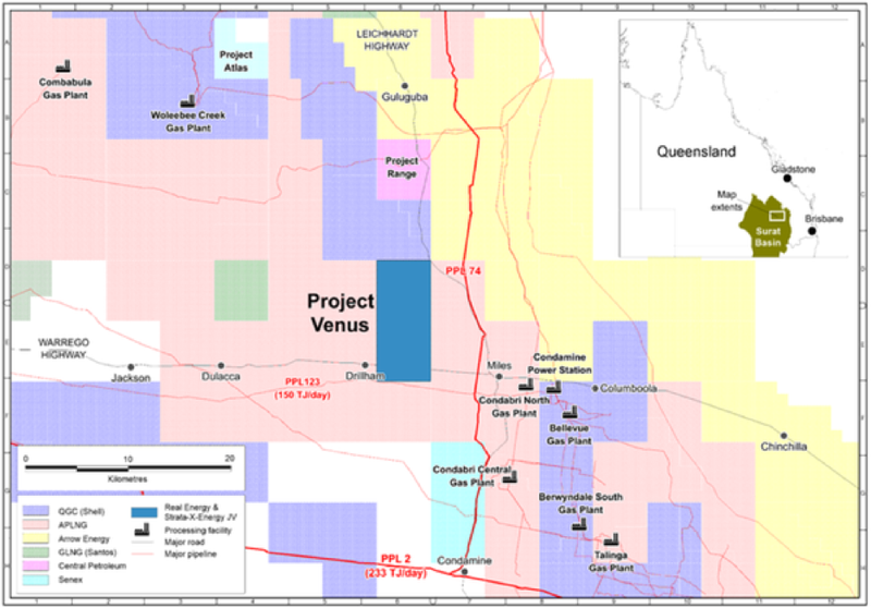 Project Venus is located in close proximity to producing wells and projects under development.