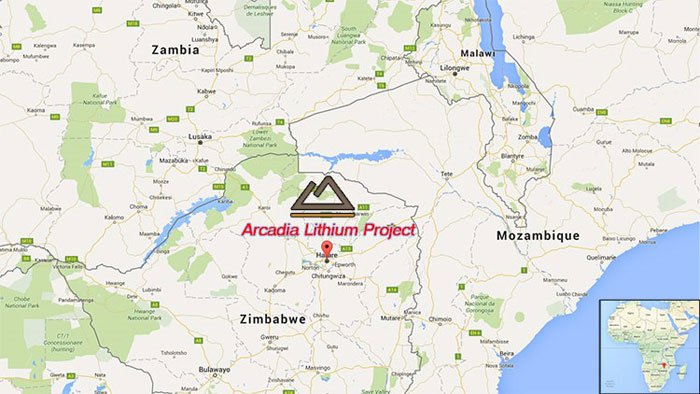 Location of the Arcadia lithium project in Zimbabwe