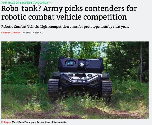 From Robocop to Robotank.
