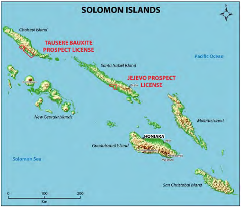Sunshine Minerals' Solomon Islands projects.