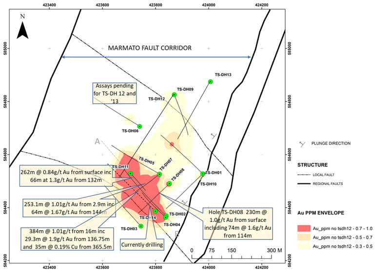 Plan view of Tesorito. The current hole (TS-DH14) is a 'step in' from TS-DH02 which has delivered the longest intercept to date and ended in elevated copper.