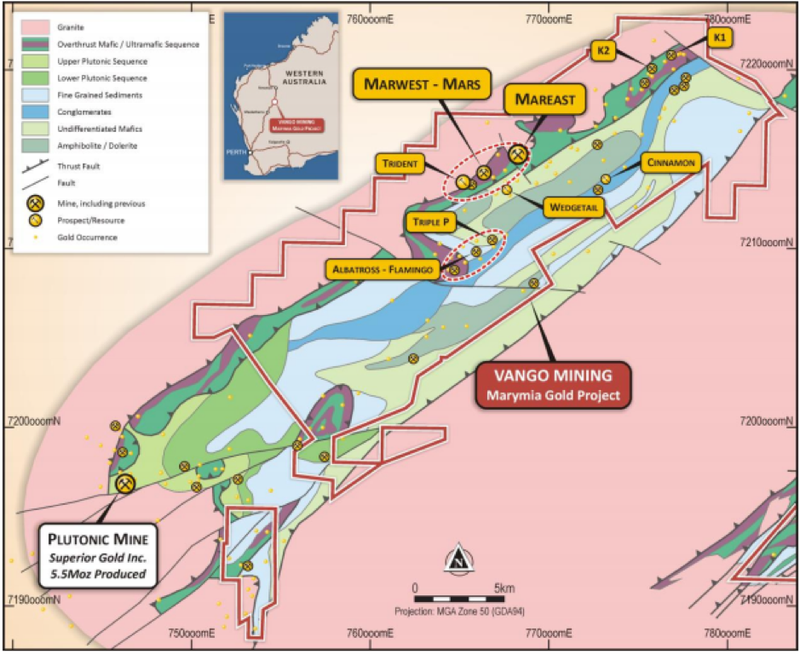 The very high‐grade Trident gold resource is open beyond the one kilometre strike length.