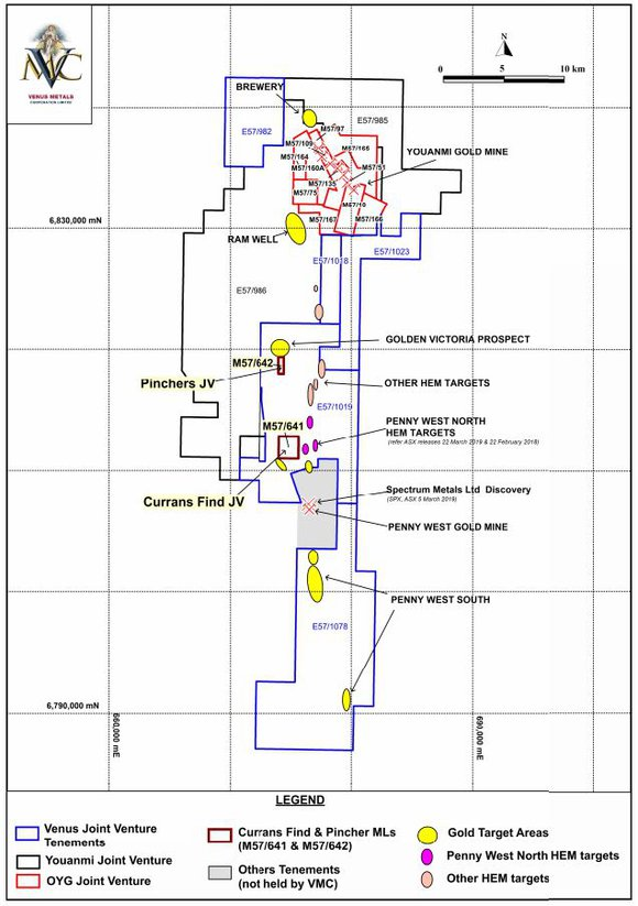 Location of Currans Find & Pincher Mining Leases & Gold Exploration Target Areas at Younami