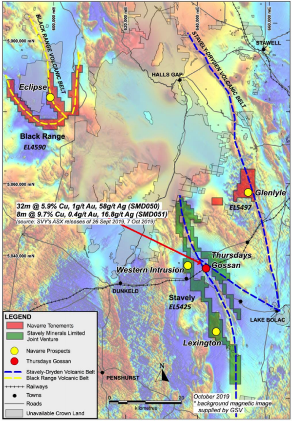 Navarre's Western Victoria Copper Project (WVCP) captures multiple, largely untested targets.